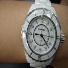 台中流當品拍賣 流當手錶拍賣 原裝 CHANEL J12 33mm 石英 陶瓷 12鑽 女錶 9成5新 ZR149